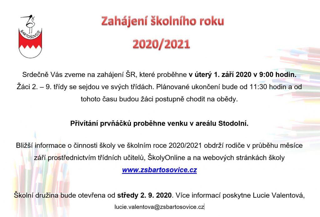 Zahájení školního roku 2020/2021